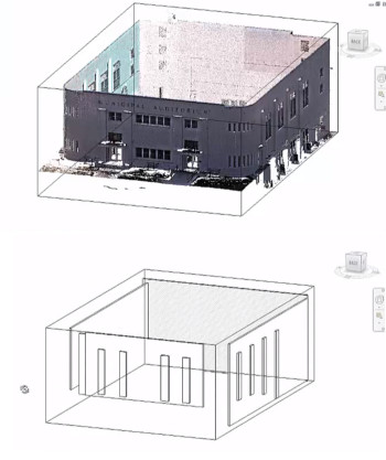 A point cloud rendering of a building and its Revit model counterpart. (Image courtesy of IMAGINiT.)