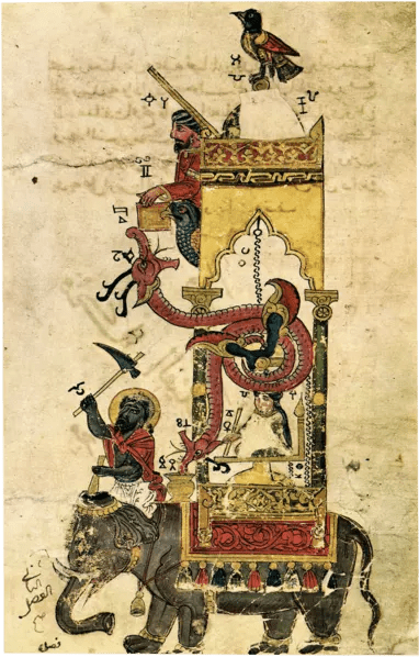 Sketch of the elephant clock from al-Jazari's manuscript for The Book of Knowledge of Ingenious Mechanical Devices (1206 CE.)