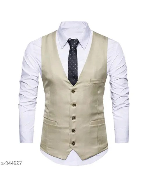Men's Partywear Solid Polyester Waistcoats Vol 1 (2)