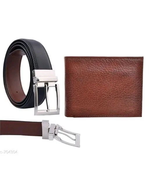 Stylish Men's Leather Reversible Belts With Wallet Vol 2