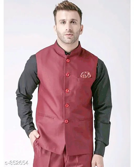 Perfect-Fit Men's Polyester Viscose Waist Coats Vol 1 (12)