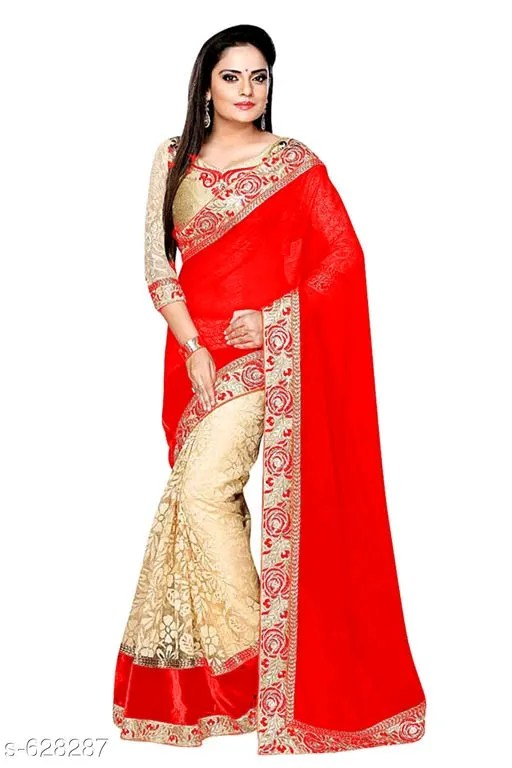 Aliyah Fashionable Georgette & Net Sarees