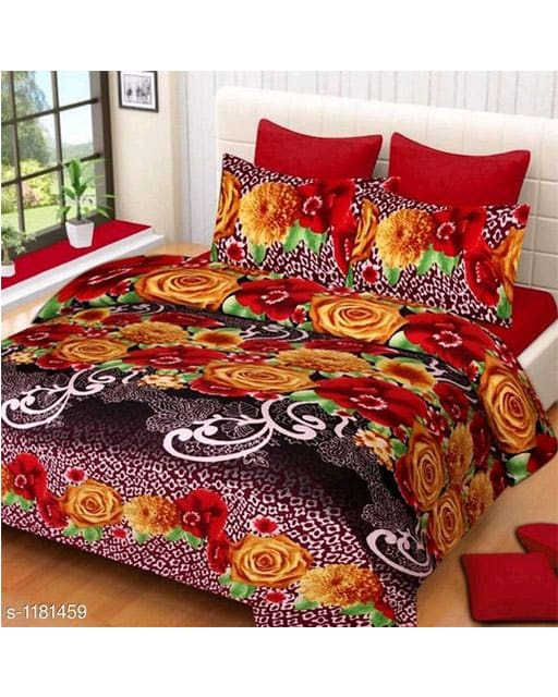 Trendy Cotton Printed 3D Double Bedsheets Vol 9