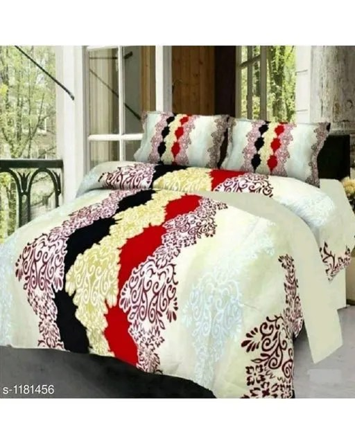 Trendy Cotton Printed 3D Double Bedsheets Vol 9 (4)