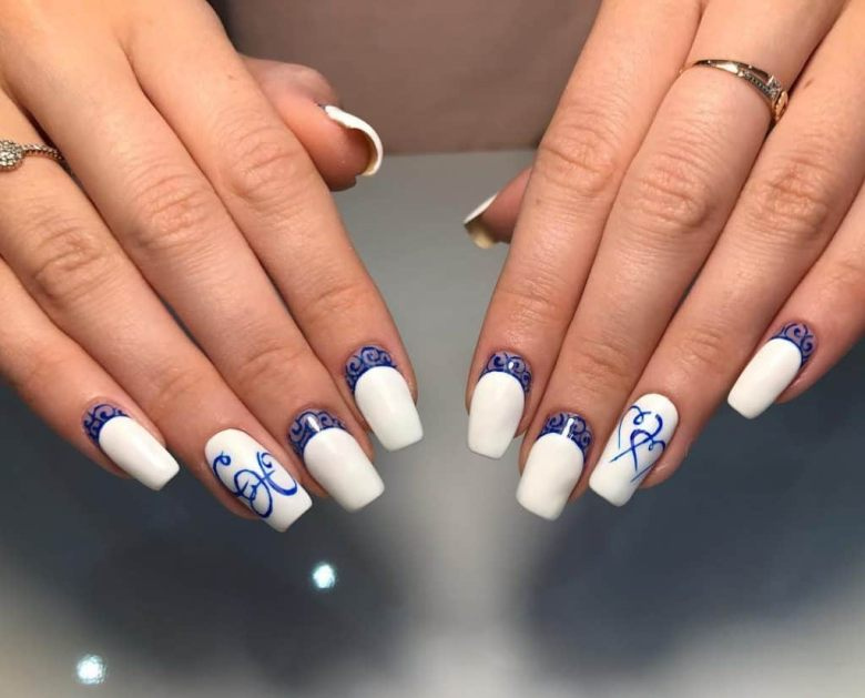 white and blue nail art
