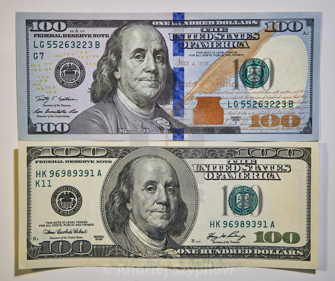 Compare Old And New Notes Of 100 Us Dollars