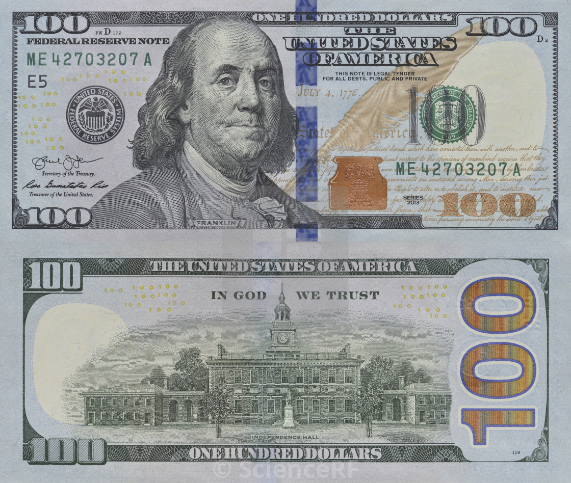 One Hundred Us Dollar Banknote Front And Back