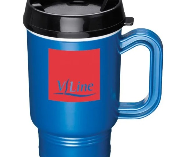 Cruiser Promotional Plastic Travel Coffee Mug With Twist On Lid And Handle