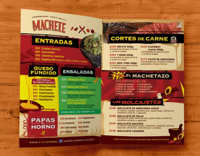 Machete - Menú interior