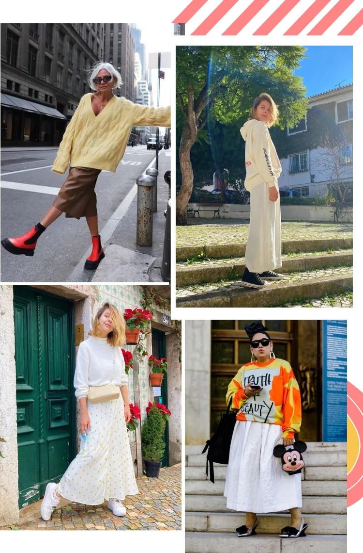 """Montagem vertical com quatro fotos, dispostas em duplas, e fundo branco, para ilustrar 6 dicas como usar vestido com blusão em looks meia-estação. Foto 1 (em cima, à esquerda): uma mulher com cabelos curtos brancos posa em uma rua vazia escorada em um poste, com uma perna levantada. O look é composto por vestido mídi de couro, blusão amarelo de lã e bota vermelha com solado tratorado. Foto 2 (em cima, à direita): Marcie posa em frente a uma praça. O look é composto por vestido longo branco, moletom branco e tênis all star preto. Foto 3 (embaixo, à esquerda): Marcie posa em frente a uma porta verde com azulejos branco com detalhes menta. O look é composto por vestido longo branco com poá amarelo usado por baixo de um blusão branco de lã, tênis branco e bolsa de palha e alça de miçangas. Foto 4 (embaixo, à direita): uma mulher com cabelos presos em frente a uma porta metalizada. O look é composto por vestido mídi branco volumoso, moletom amarelo com laranja escrito """"truth beauty"""" preto central no peito e bolsa com a cabeça do míckey."""