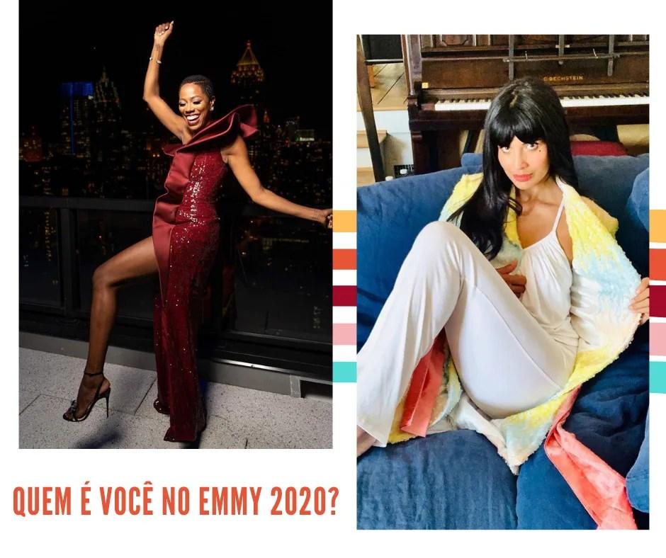 Montagem com fundo branco e duas fotos lado a lado. Na primeira, à esquerda, a atriz Yvonne Orji  posa em um fundo escuro, que parece ser uma sacada à noite, usando um vestido longo de paetê vermelho de um ombro só com fenda até a parte superior da coxa. Na segunda foto, à direita, Jameela Jamil está sentada no sofá encarando a câmera, vestindo um pijama branco e quimono com estampa de paetê multicolorido em tons pastel