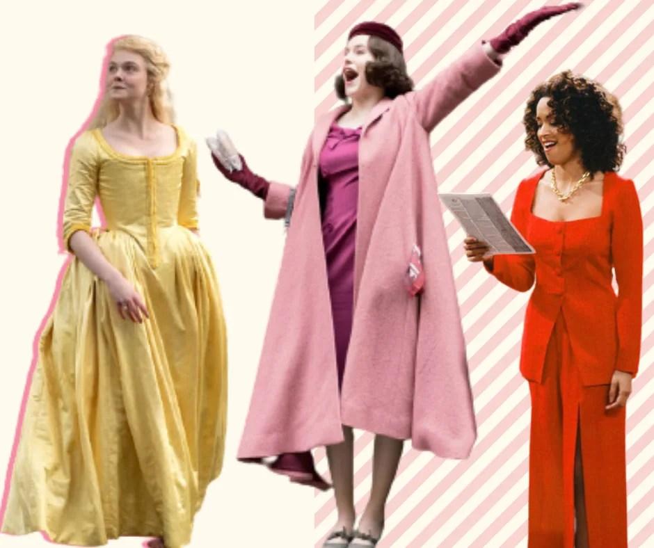 Montagem com fundo off white e três imagens sem fundo. Foto 1 (na esquerda): Ellie Fanning, atriz da série The Great, está parada olhando para o lado. Ela veste um vestido amarelo de mangas 3/4, cintura marcada e saia volumosa. Foto 2 (ao centro): A protagonista de Mrs. Maisel está parada com uma mão no alto. O look é composto por vestido magenta, vestido rosa claro, manga magenta e boina magenta. Foto 3 (à direita): Hilary Banks está com um papel na mão. Ela veste um terno vermelho com um decote quadrado.