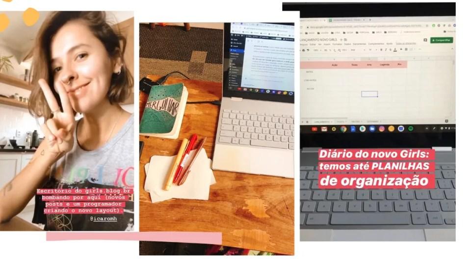 """Montagem com três fotos e fundo branco. Na primeira imagem, à esquerda, Marcie aparece fazendo uma selfie com sinal de paz e amor. Na segunda, uma mesa de madeira, com moleskine escrito """"mergulhar"""", três canetas (uma bege, uma vermelha e uma marrom) e um notebook aparecem. Na terceira foto, uma tela de notebook com planilha aberta e a legenda """"Diário do novo Girls: temos até PLANILHAS de organização""""."""