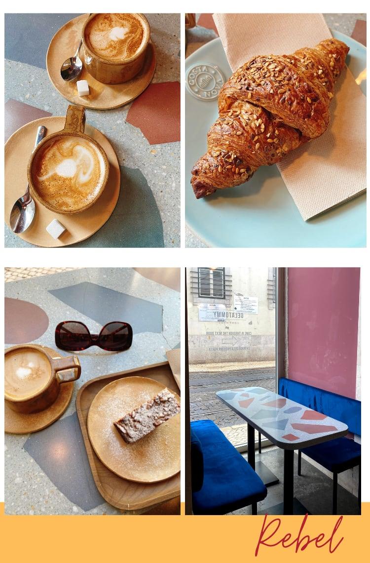 """Montagem vertical com fundo branco e quatro fotos dispostas em duplas, duas em cima, duas embaixo. Foto 1 (em cima, à esquerda): uma mesa com pinturas em tons de azul, marrom, cinza e rosa traz duas xícaras de cerâmica marrom com café com leite espumado. Foto 2 (embaixo, à direita): um croissant integral com cereais está em um prato azul bebê. Foto 3 (embaixo, à esquerda): uma mesa cinza com desenhos modernos tem um prato de cerâmica marrom com uma fatia banana bread e uma xícara de cerâmica com cappuccino. Foto 4 (embaixo, à direita): uma parede rosa e um vidro para a rua estão no fundo. Na frente, uma mesa cinza com desenhos contemporâneos coloridos e bancos de veludo azul-marinho.Abaixo da foto está uma faixa amarela com o texto """"Rebel"""" em letra cursiva bordô."""