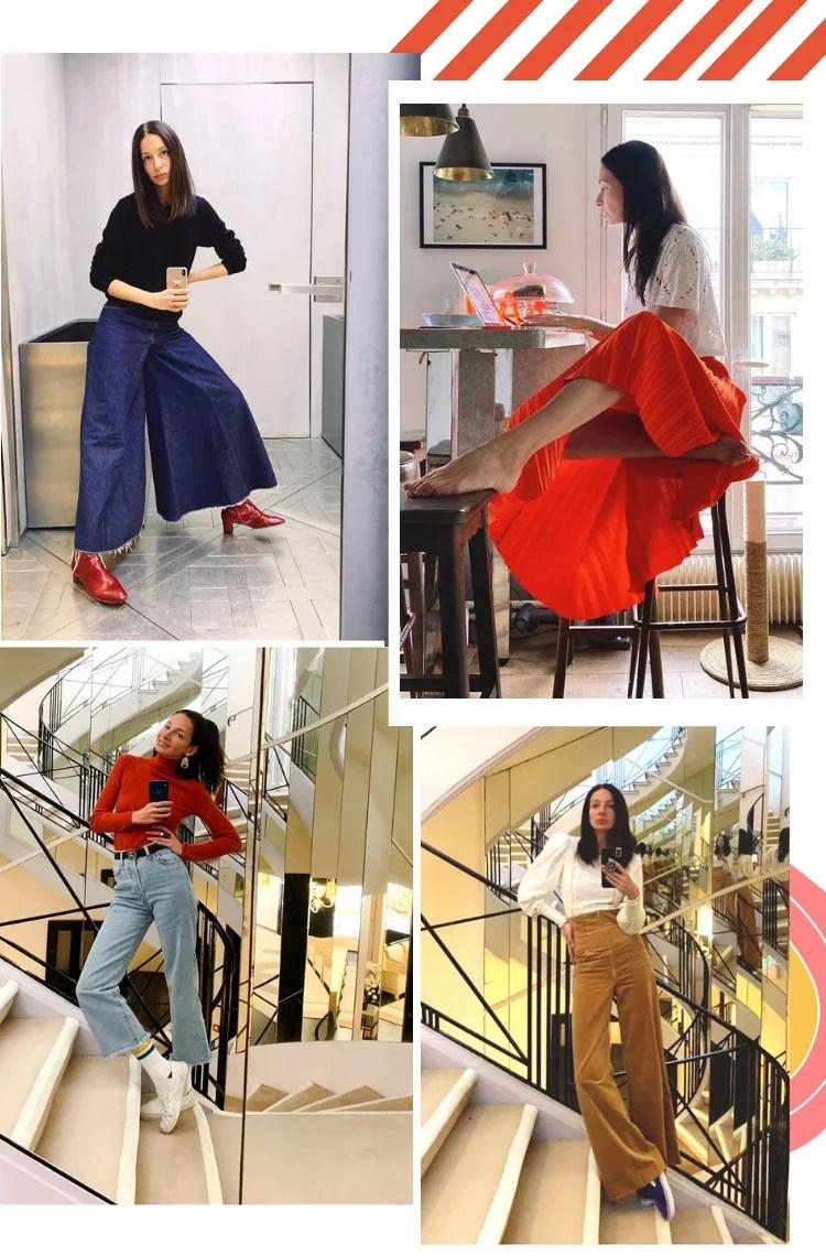 Montagem vertical com fundo branco e com quatro fotos, dispostas em duplas, uma em cima, outra embaixo. Em todas as fotos, está a Amanda Sanchez, modelo magra, alta e cabelo castanho liso na altura no ombro. Foto 1 (embaixo, à esquerda): Amanda posa em frente a um espelho com a mão na cintura. O look é composto por suéter preto, pantalona jeans com barra curta, bota vermelha envernizada. Foto 2 (em cima, à direita): Amanda posa sentada em um banco com as pernas cruzadas mexendo no computador. O look é composto por camiseta branca de laise e saia plissada vermelha. Foto 3 (embaixo, à esquerda): Amanda se fotografa em uma escadaria em frente a um espelho. O look é composto por blusa de gola alta vermelha, calça jeans cropped de lavagem clara, cinto preto, meia branca e slip on branco. Foto 4 (embaixo, à direita): Amanda posa em uma escadaria em frente a um espelho. O look é composto por blusa branca de manga longa bufante, calça de veludo cotelê marrom e slip-on preto.