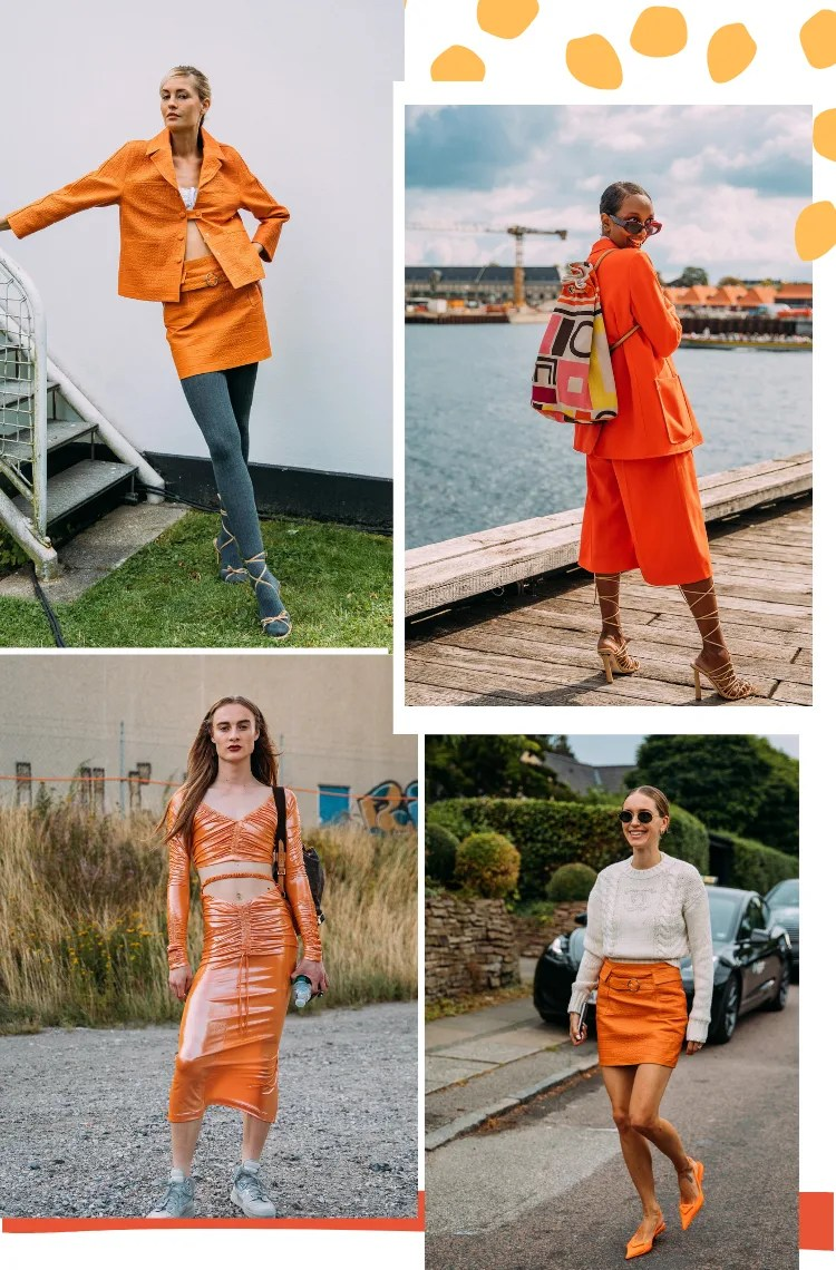 Montagem vertical com fundo branco e quatro fotos, disposta em duplas, mostrando 6 tendências da Copenhagen Fashion Week: laranja. Foto 1: uma mulher com cabelos loiros lisos presos está escorada em uma escada branca. O look é composto por conjunto de jaqueta e saia curta laranja de tweed, meia calça cinza e sandália de tiras bege enrolada na perna. Foto 2 (em cima, à direita): uma mulher com cabelos castanhos penteados curto está em frente a uma ponte de madeira de costas olhando para a câmera. O look é composto por terno de blazer e bermuda laranja, mochila estampada, sandália gladiadora bege amarrada na perna. Foto 3 (embaixo, à direita): uma mulher com cabelos castanhos está em frente a um lugar com plantas ao fundo. O look é composto por vestido de látex de mangas longas mídi laranja, tênis cinza esportivo. Foto 4 (embaixo, à direita): uma mulher com cabelos lisos partidos ao meio em um coque baixo caminha em uma rua vazia. O look é composto por suéter branco de mangas longas, saia de couro laranja e scarpin laranja.