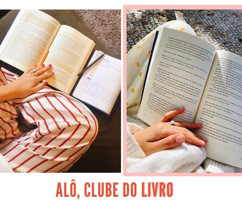 """Montagem com fundo branco e duas fotos. A primeira, um livro está aberto em cima de um sofá cinza com marcações laranjas. Na segunda foto, à direita, um livro aberto está no colo de uma pessoa branca, vestindo um vestido branco com poá amarelo. Logo abaixo das fotos, está o texto """"ALÔ, CLUBE DO LIVRO"""" em letras maiúsculas laranja."""