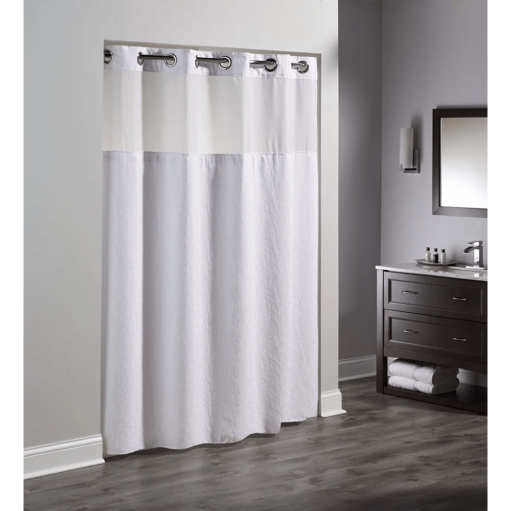 coral polyester shower curtain with