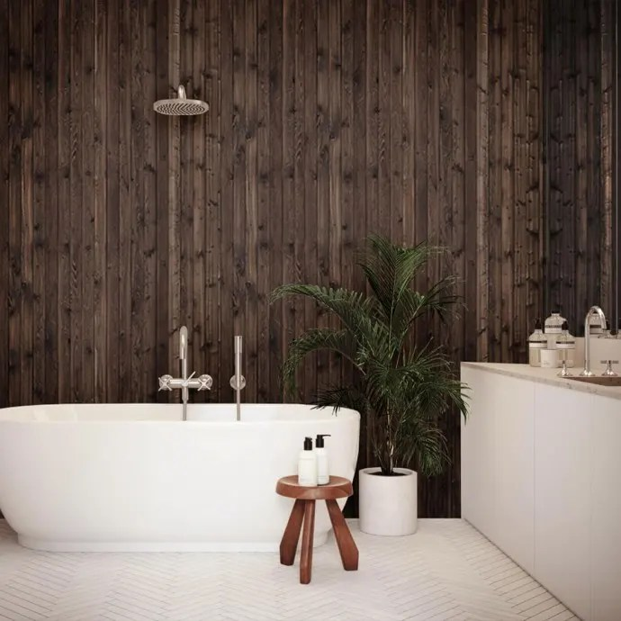 Salle de bain lambris en bois brûlé