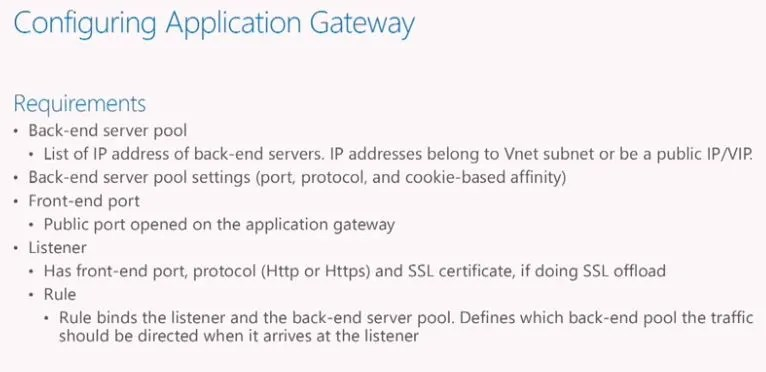 Configuring Application Gateway Requirements