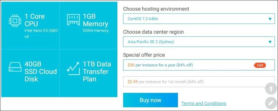 Alibaba Cloud ECS SSD Cloud Server US30 per year