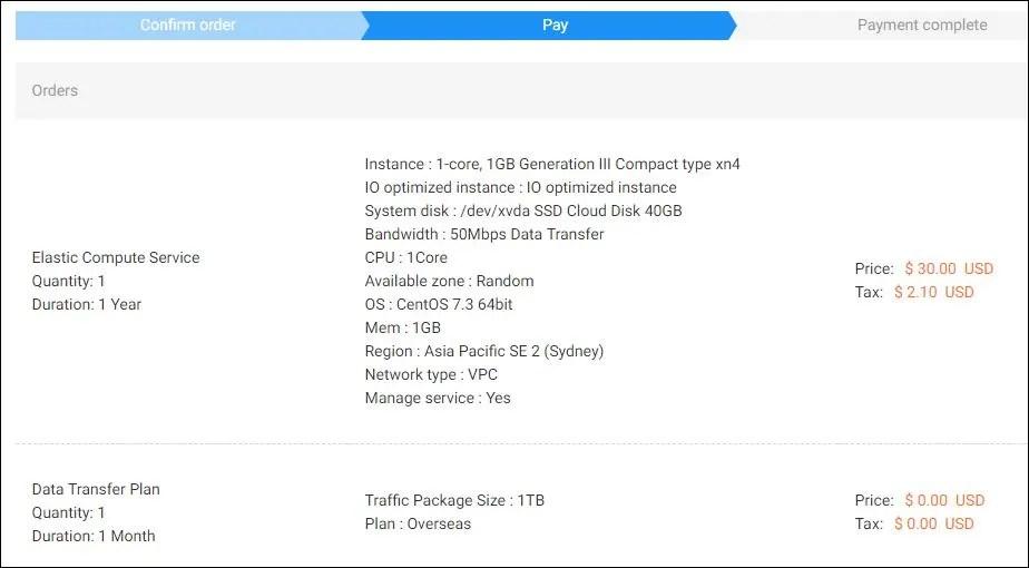 Alicloud ECS SSD Cloud Server US30 per year