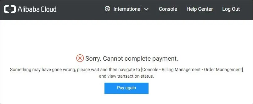 Alibaba Cloud ECS SSD Cloud Server US30 payment error