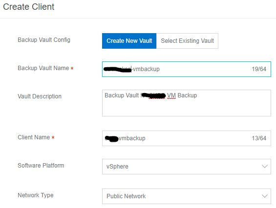 Alibaba Cloud Hybrid Backup Recovery VM Backup Create Client