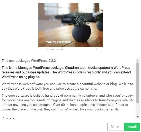 Cloudron install WordPress