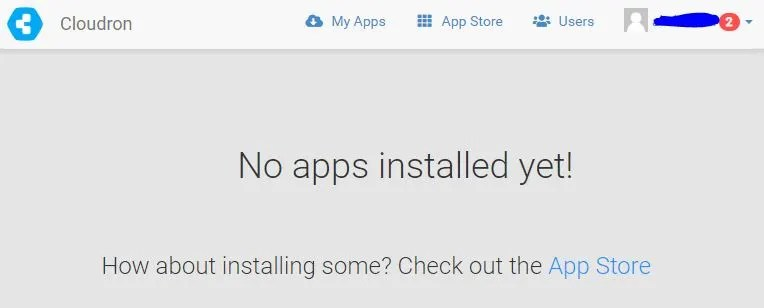 Cloudron No apps installed yet