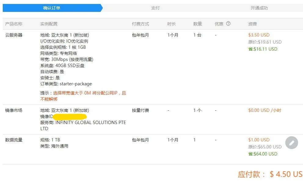 Alibaba Cloud Confirm Order