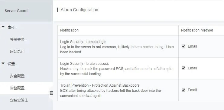 Alibaba Cloud Security Server Guard Alarm Configuration