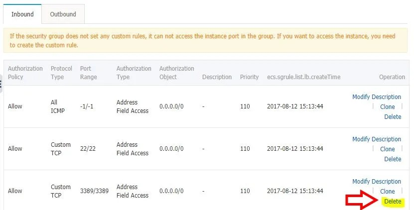 Alicloud ECS manage security group rules