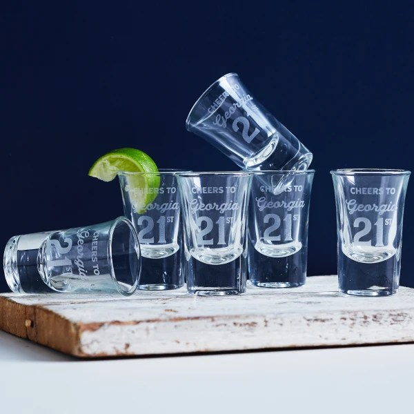 Personalised Cheers 21st Birthday Engraved Shot Glasses Set Of Six Hardtofind