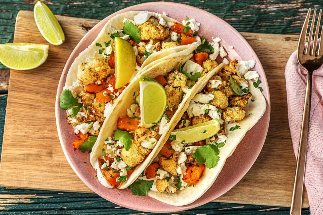 easy butternut squash recipes-HelloFresh-Crispy-Cauliflower-Squash-Tacos