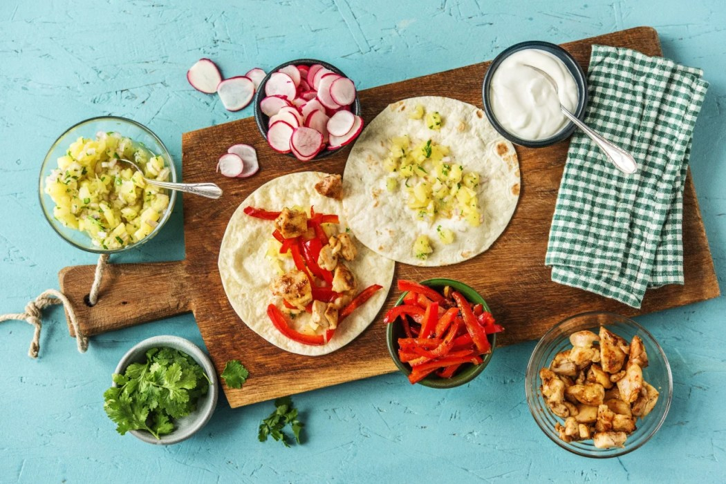 easy Mexican recipes-Chicken-Pineapple-Party-Tacos-HelloFresh