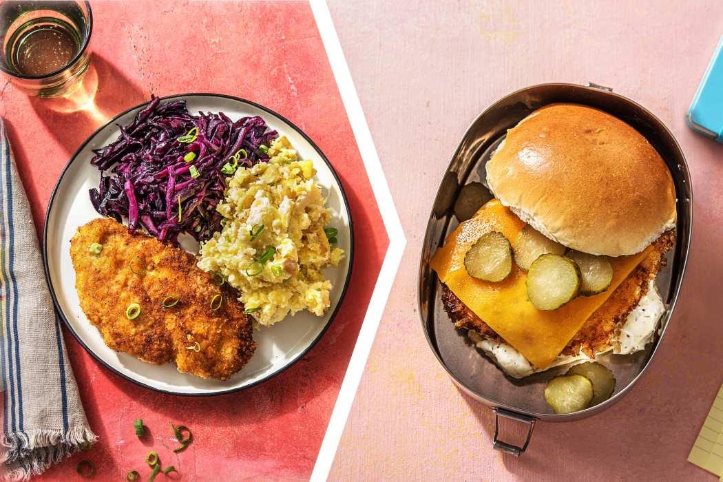 easy chicken dinner-Chicken-Schnitzel-dinner-BBQ-chicken-sandwich-lunch-HelloFresh