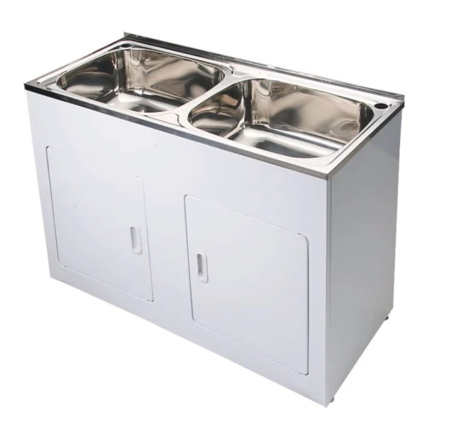 yakka double 45 litre laundry trough tub with metal cabinet