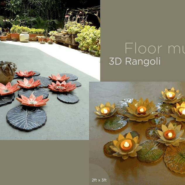 Lotus Ceramic Floor Mural 3D rangoli :Diwali home decoration ideas
