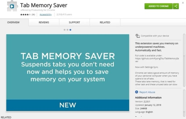 Tab Memory Saver suspends tabs you don't need.