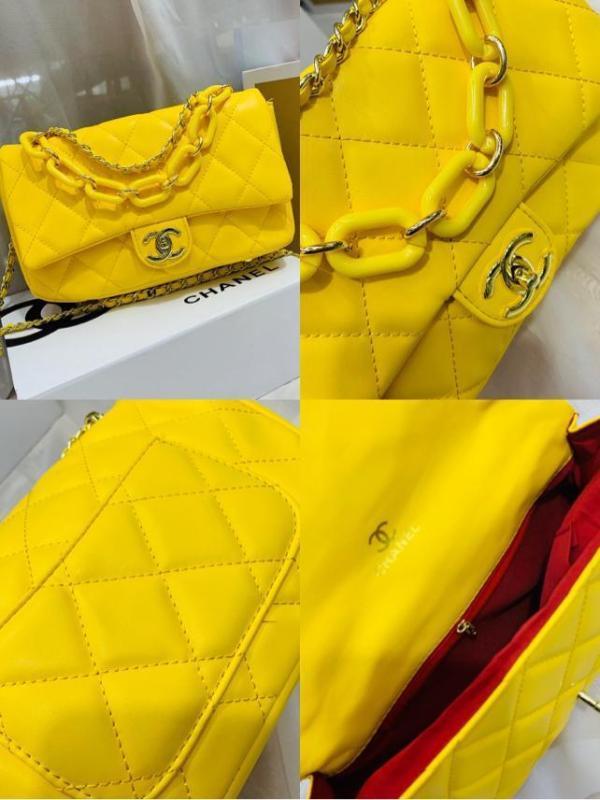 Chanel Yellow Quilted Lambskin Jumbo Classic Double Flap Bag   Yellow handbag, Yellow purses -Channel