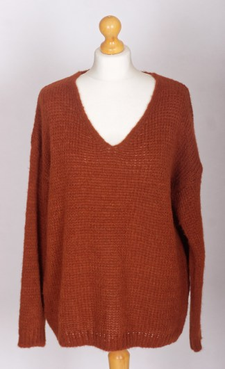 Burnt Orange Loose-Knit Baggy Jumper