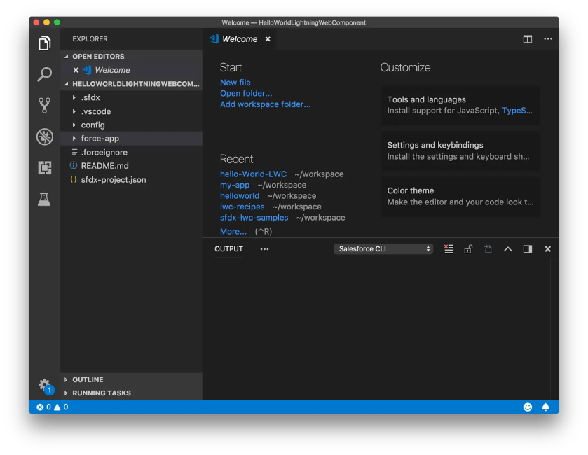 Visual Studio Code with the newly created HelloWorldLightningWebComponent folder