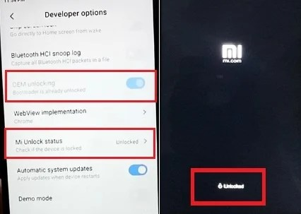 unlock bootloader developer option xiaomi