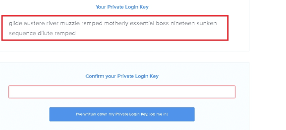 Private Login Key mymonero