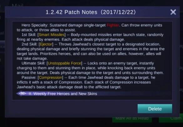 Update Patch 1.2.42 mobile legends advanced server