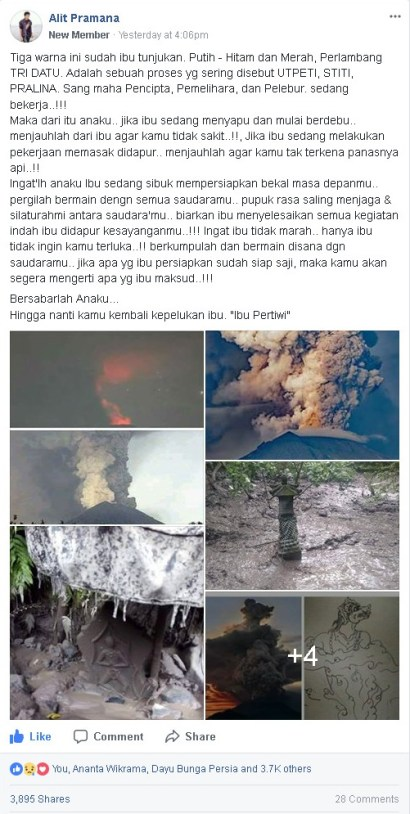 Pesan Banyak Makna dibalik Bencana Gunung Agung ditulis oleh Alit Pramana