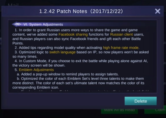 Update Patch 1.2.42 mobile legends advanced server