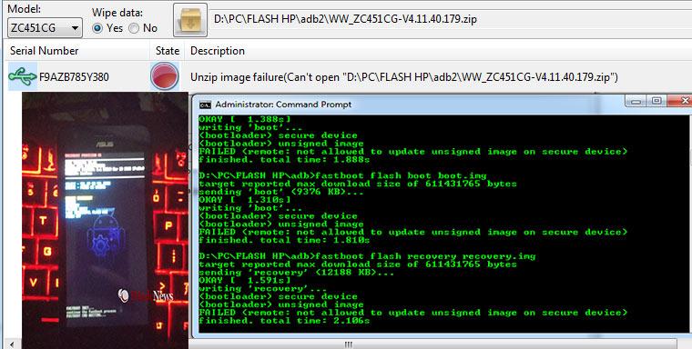 Flash Asus ZC451CG (Z007) + Atasi Unzip Image Failure