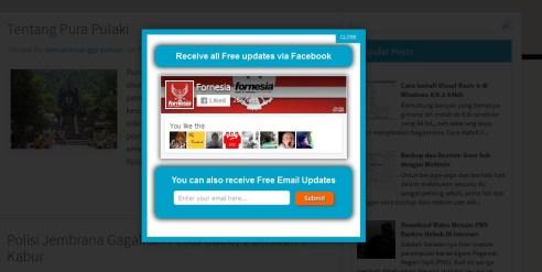 Membuat PopUp Like Box Facebook Dan Subscribe Box Keren Blogger Terbaru
